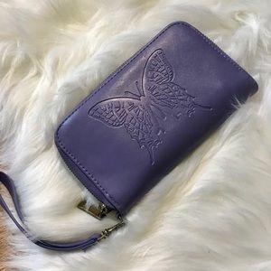 Butterfly Zip Wristlet Wallet in lavender